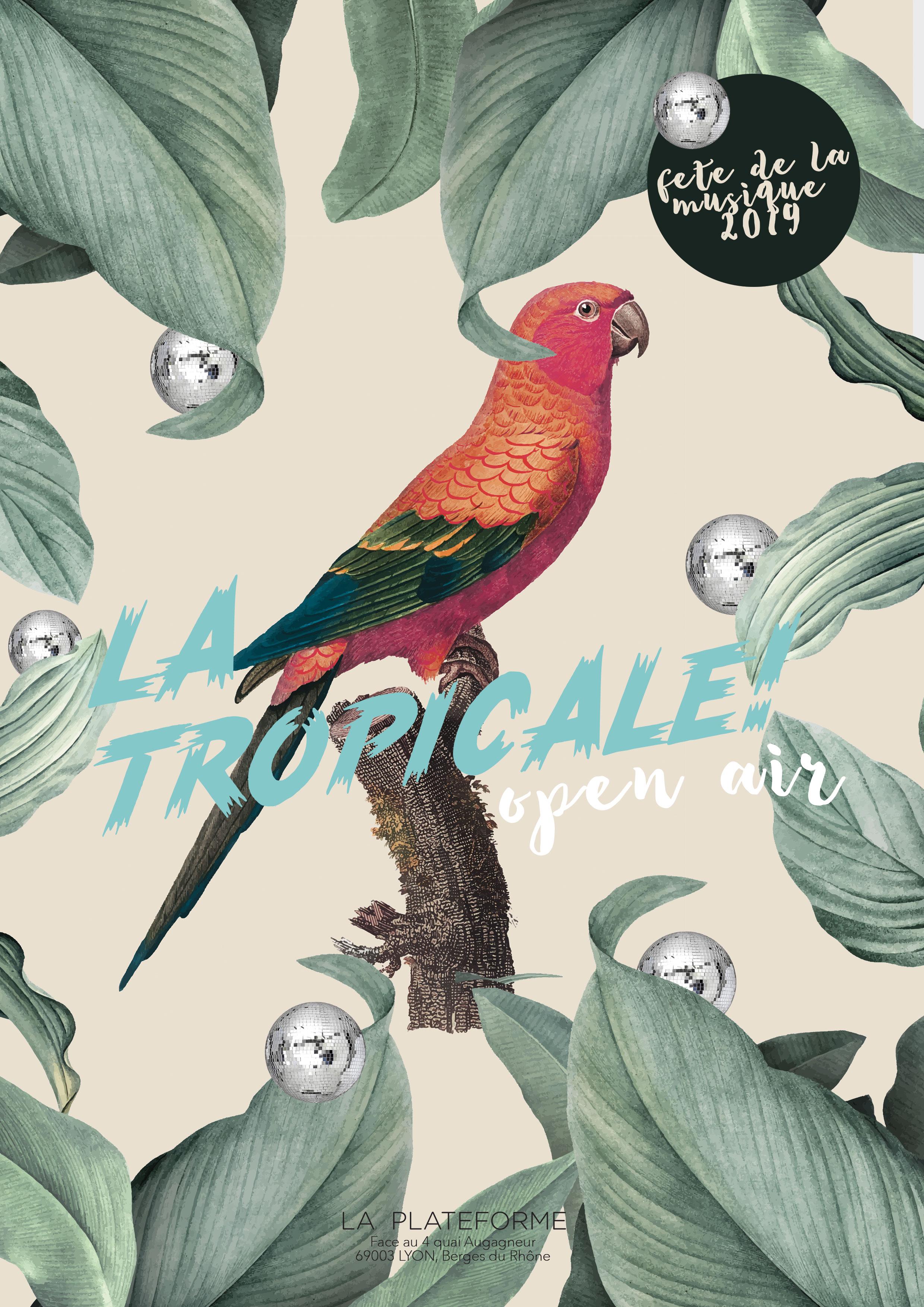 Design graphique flyer «La Tropicale» la Plateforme, Lyon