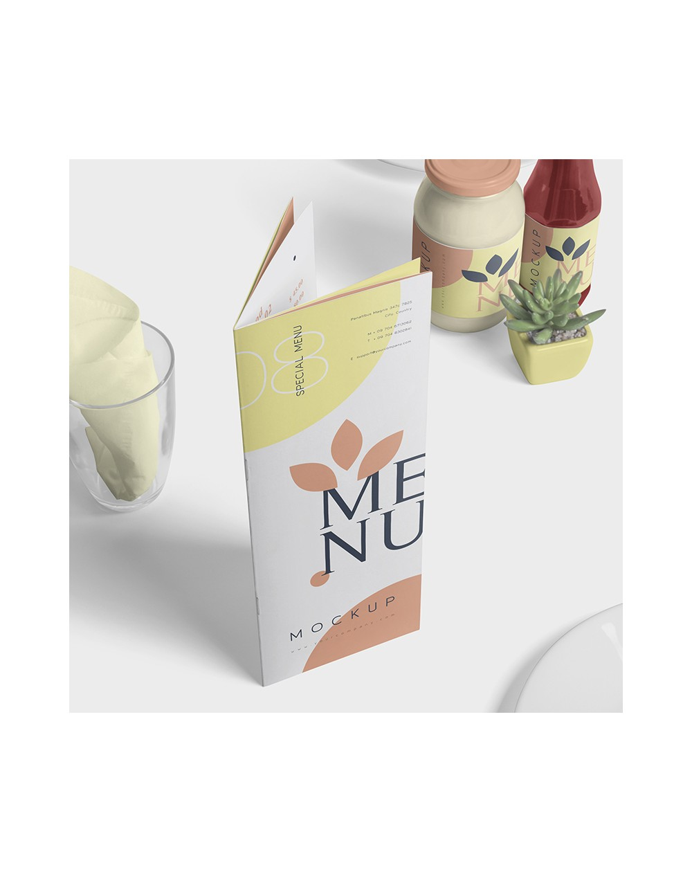 Menu Brochure 8 pages pelliculés 15x21cm - Café, Bar, Hôtel, Restaurant