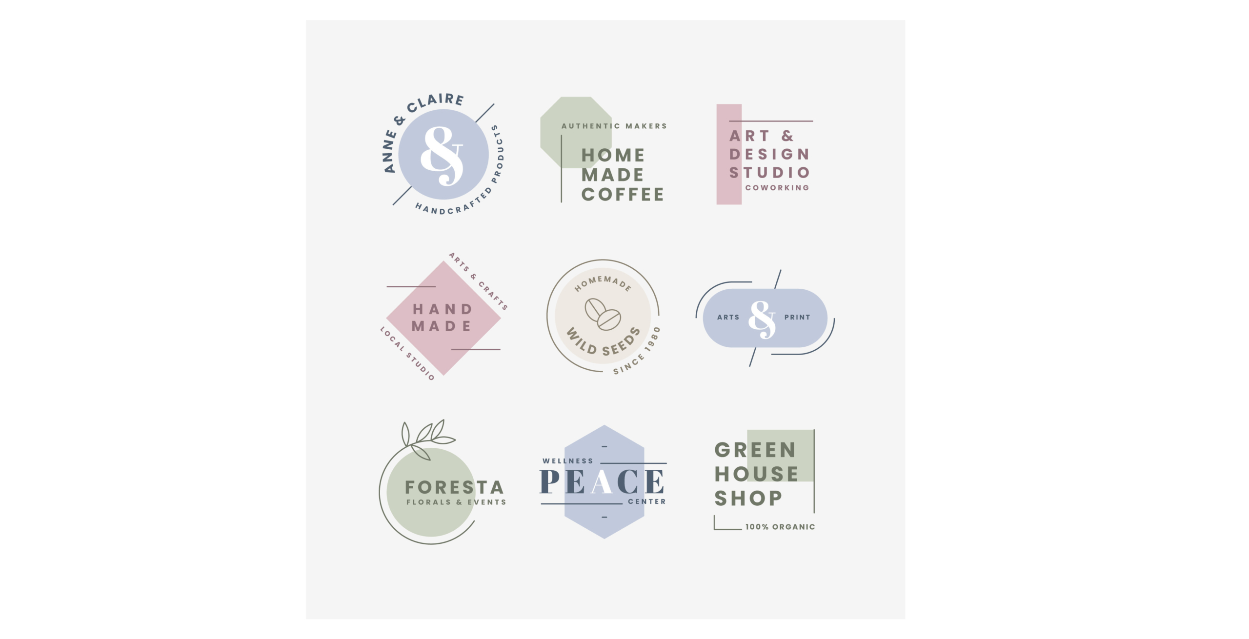 Planche de collection de création de logo