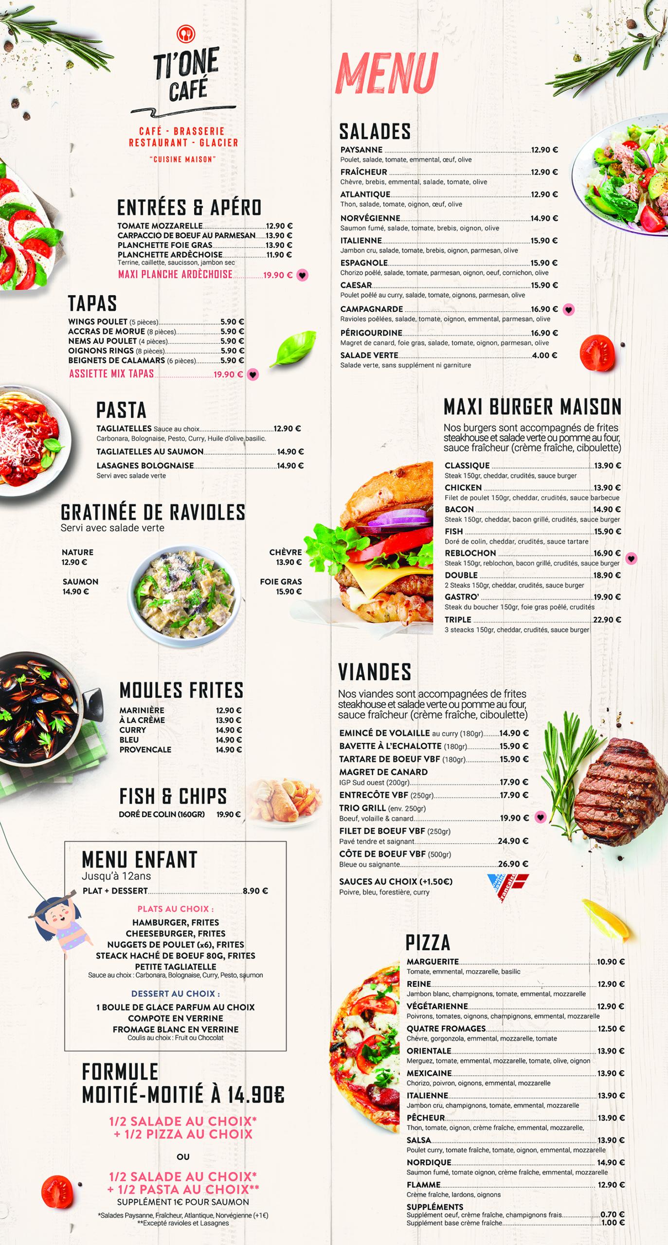 Création carte et menu restaurant ti one cafe