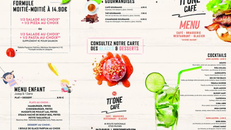 Création de menu et carte boisson : Restaurant Ti'One