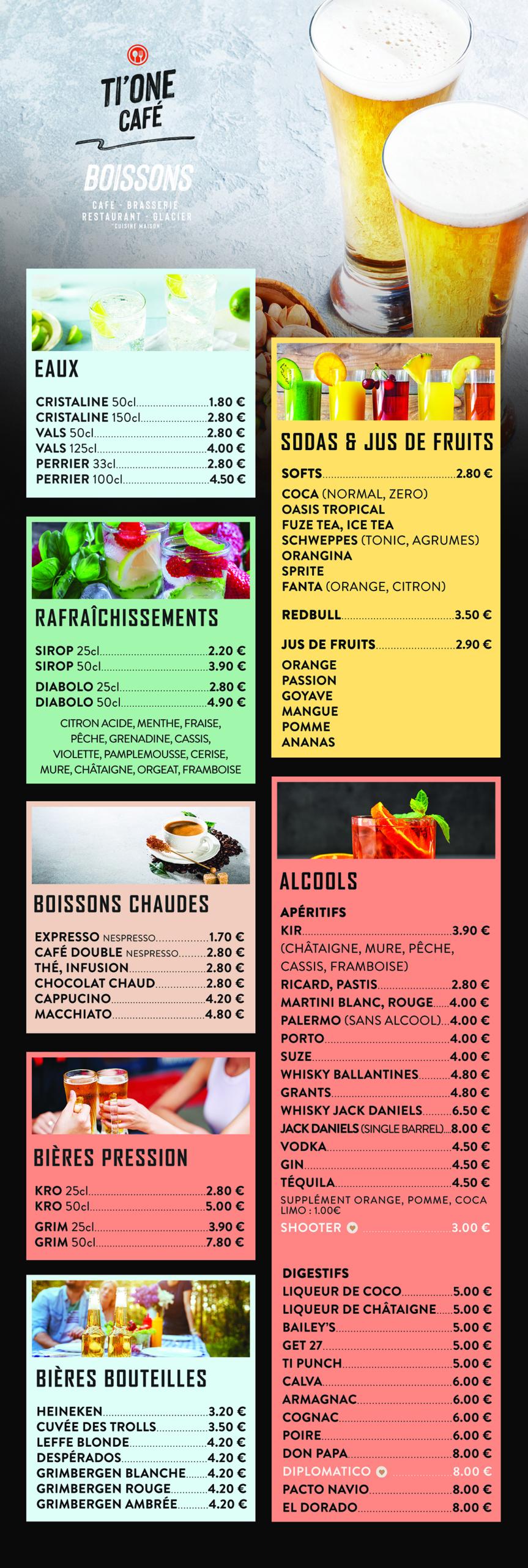 Création carte bar menu restaurant ti one cafe