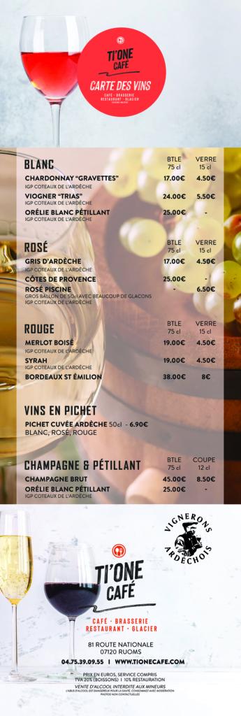 Création carte vins et menu restaurant ti one cafe