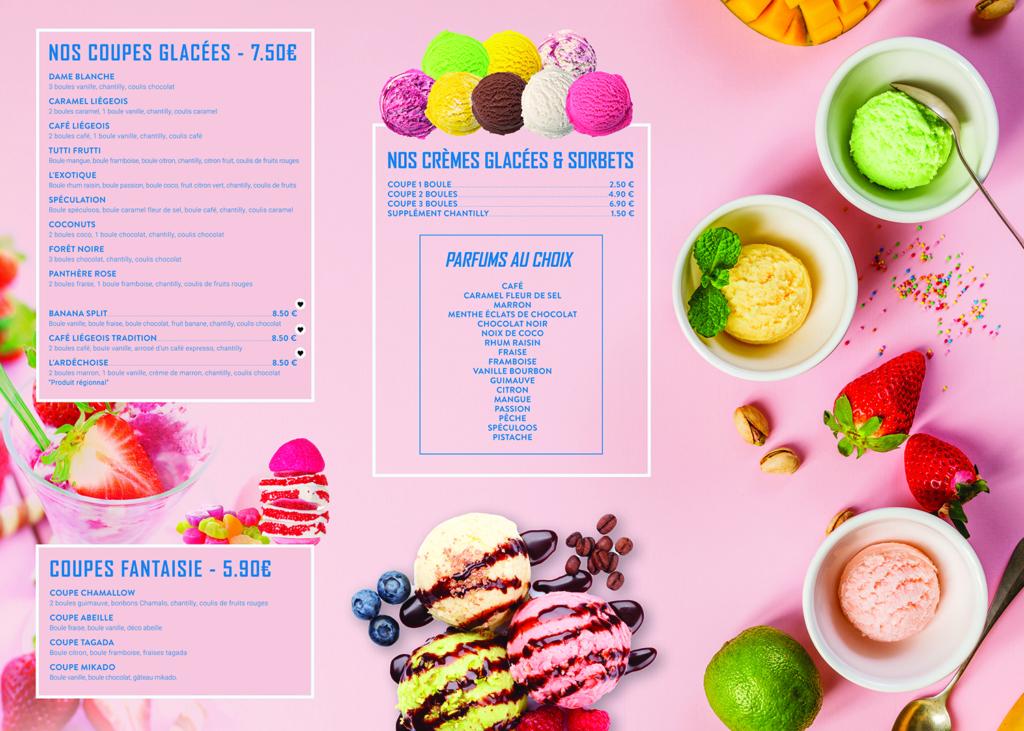 Création carte et menu glace et desserts restaurant ti one cafe