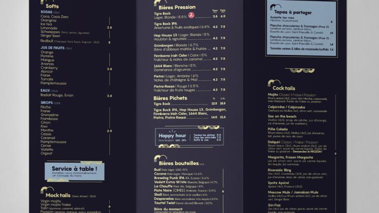 Création de menu & cartes de boissons la Marquise Lyon