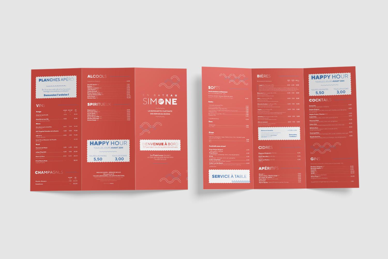 Création de menus et de carte de bars et restaurants pour La Plateforme