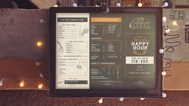Création de menus et de carte de restaurant pour After Hour