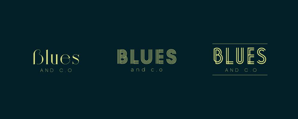 Création logo bar Lyon Blues & c.o, typographie vintage
