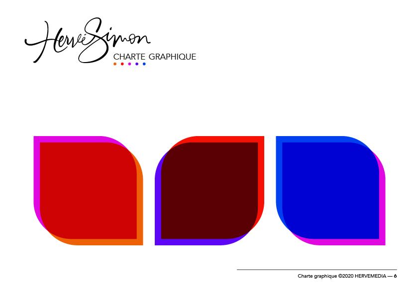 Charte graphique en Flat Design pour HERVEMEDIA, réalisée par 4colors à Lyon