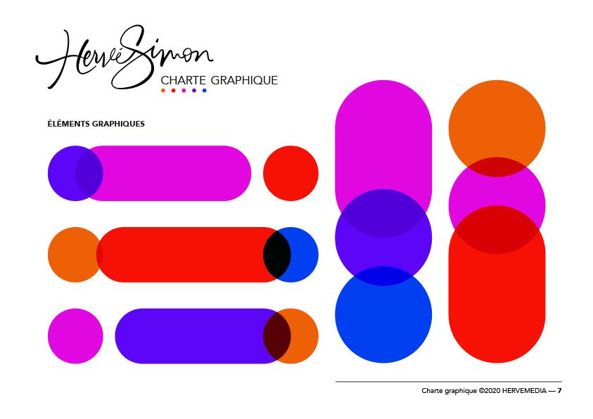 Éléments graphiques colorés pour HERVEMEDIA, réalisés par 4colors à Lyon