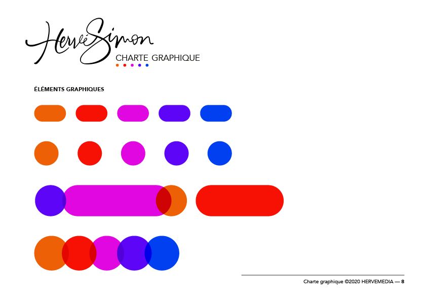 Séparateurs de textes géométriques pour HERVEMEDIA, réalisés par 4colors Lyon