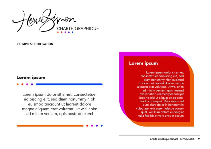 Présentation de charte graphique pour HERVEMEDIA, réalisée par 4colors à Lyon