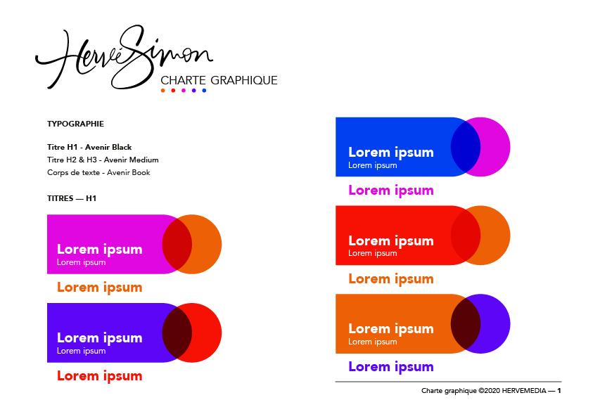 Charte graphique pour HERVEMEDIA, réalisée par 4-colors à Lyon