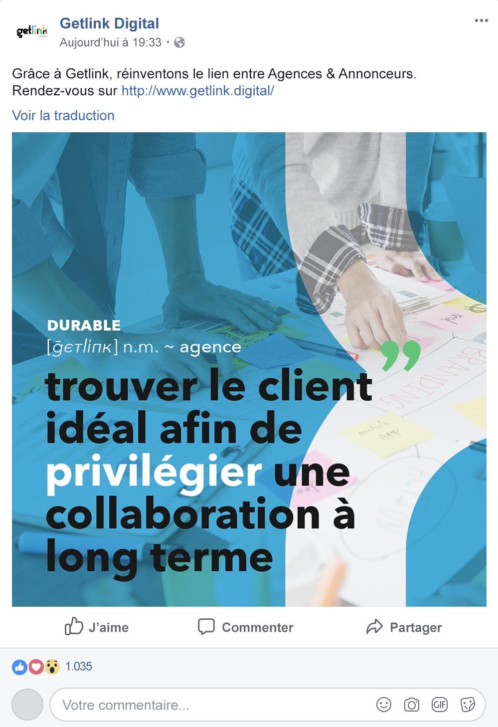 Publication Facebook sponsorisée pour Getlink Digital, réalisée par 4colors à Lyon