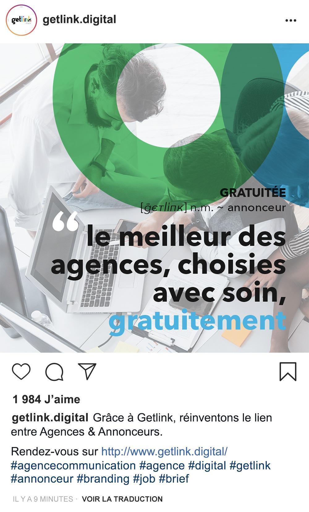 Post Instagram sponsorisé pour Getlink Digital, réalisé par 4colors à Lyon