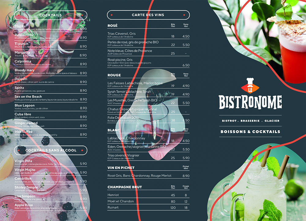 Création et impression carte et menu restaurant le Bistronome, Ardèche