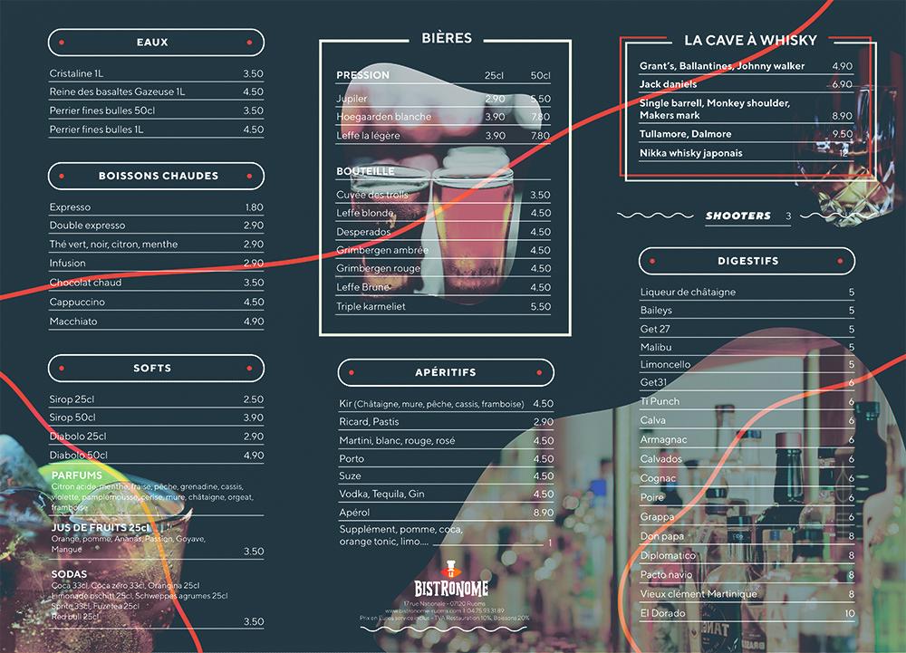Carte restaurant boissons le bistronome
