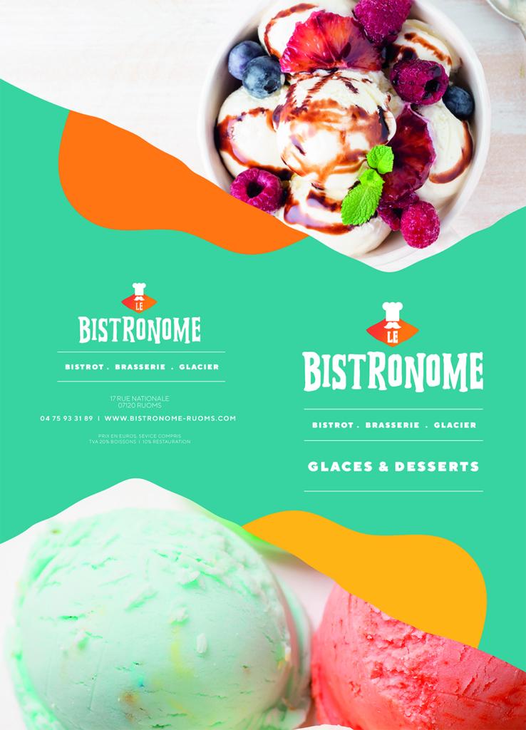 Carte restaurant glaces et desserts le bistronome