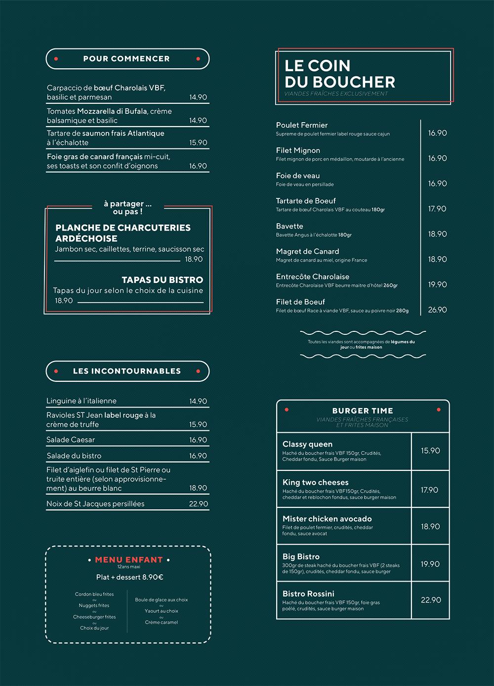 Carte restaurant menu le bistronome