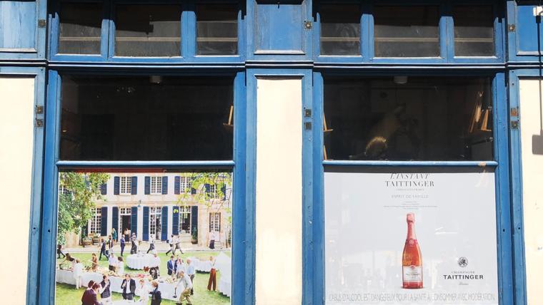 Vitrophanie adhésive en micro perforée pour Taittinger Lyon