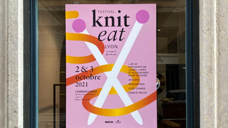 Impression grand format d'adhésif pour vitrine Knit Eat Lyon