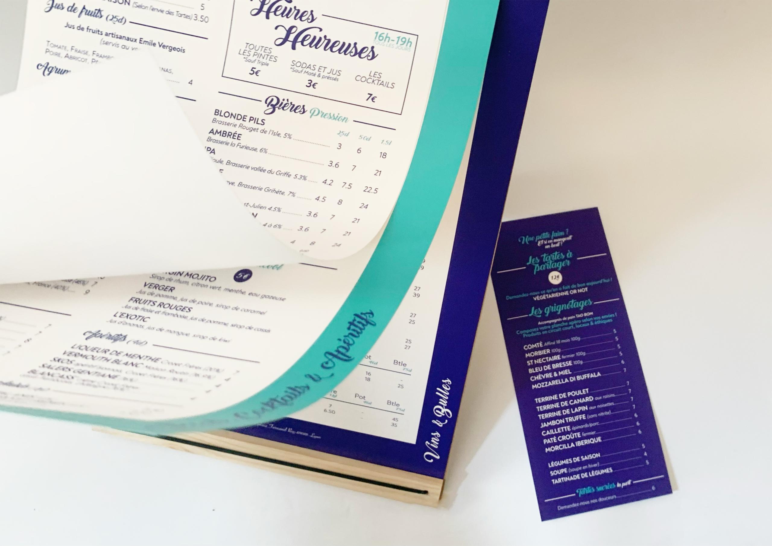 Création, impression menu du restaurant Chez les tartes Lyon